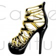 BLACK AND GOLD CERAMIC STILETTO ORNAMENT