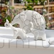 CERAMIC ELEPHANT WITH TWO YOUNG ORNAMENT