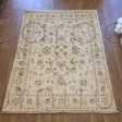 Afghan Ziegler Hand-knotted Traditional Wool Rug - Ivory Blue 144 x 190 cm