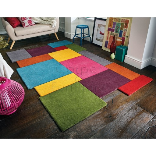Abstract Collage Rug - Multi - Size 90 x 150 cm (3' x 5')