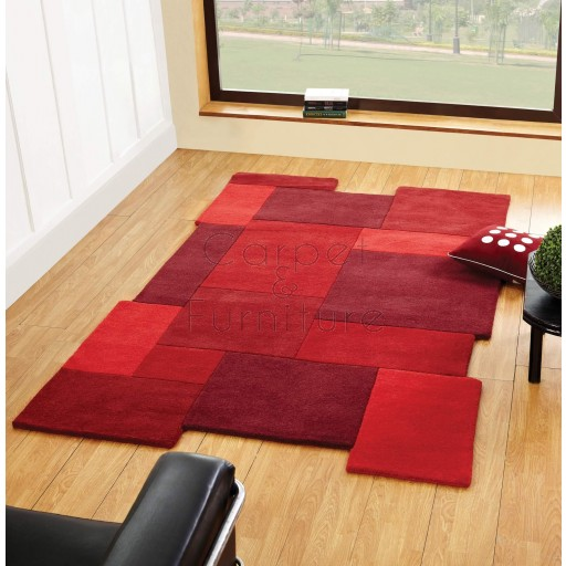"Abstract Collage Rug - Red - Size 200 x 290 cm (6'7"" x 9'6"")"