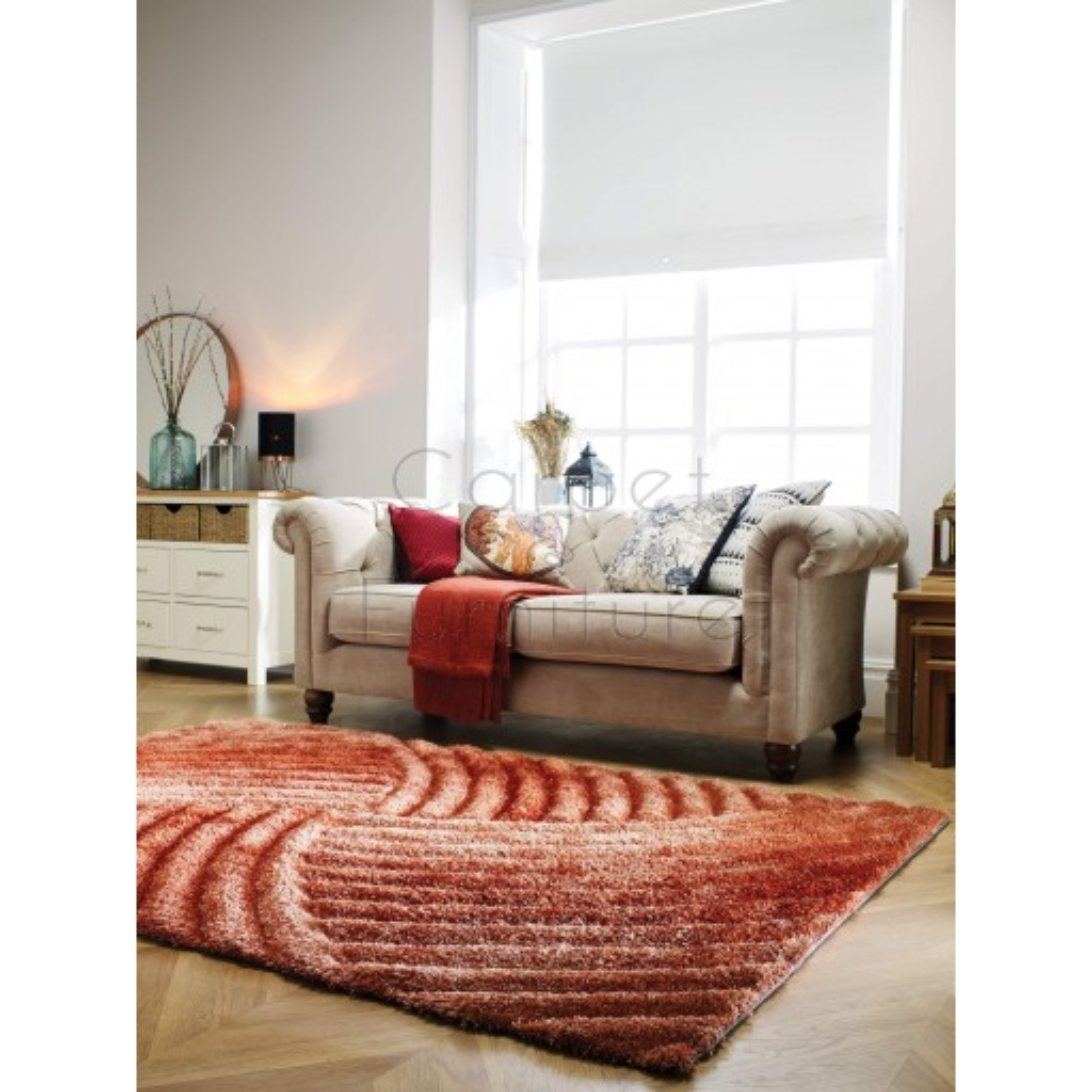 "Verge Furrow Terracotta Rug - Size 160 x 230 cm (5'3"" x 7'7"")"