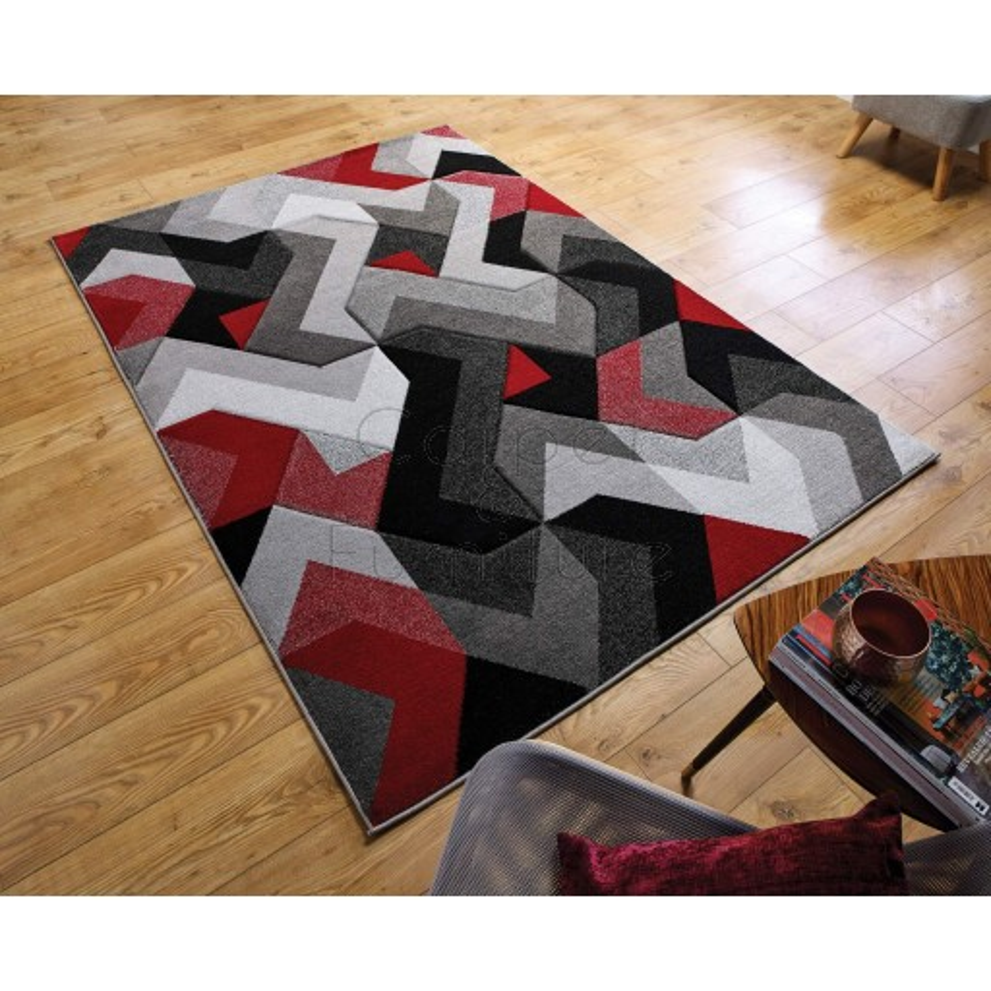 "Aurora Rug - Grey Red - Size 200 x 290 cm (6'7"" x 9'6"")"