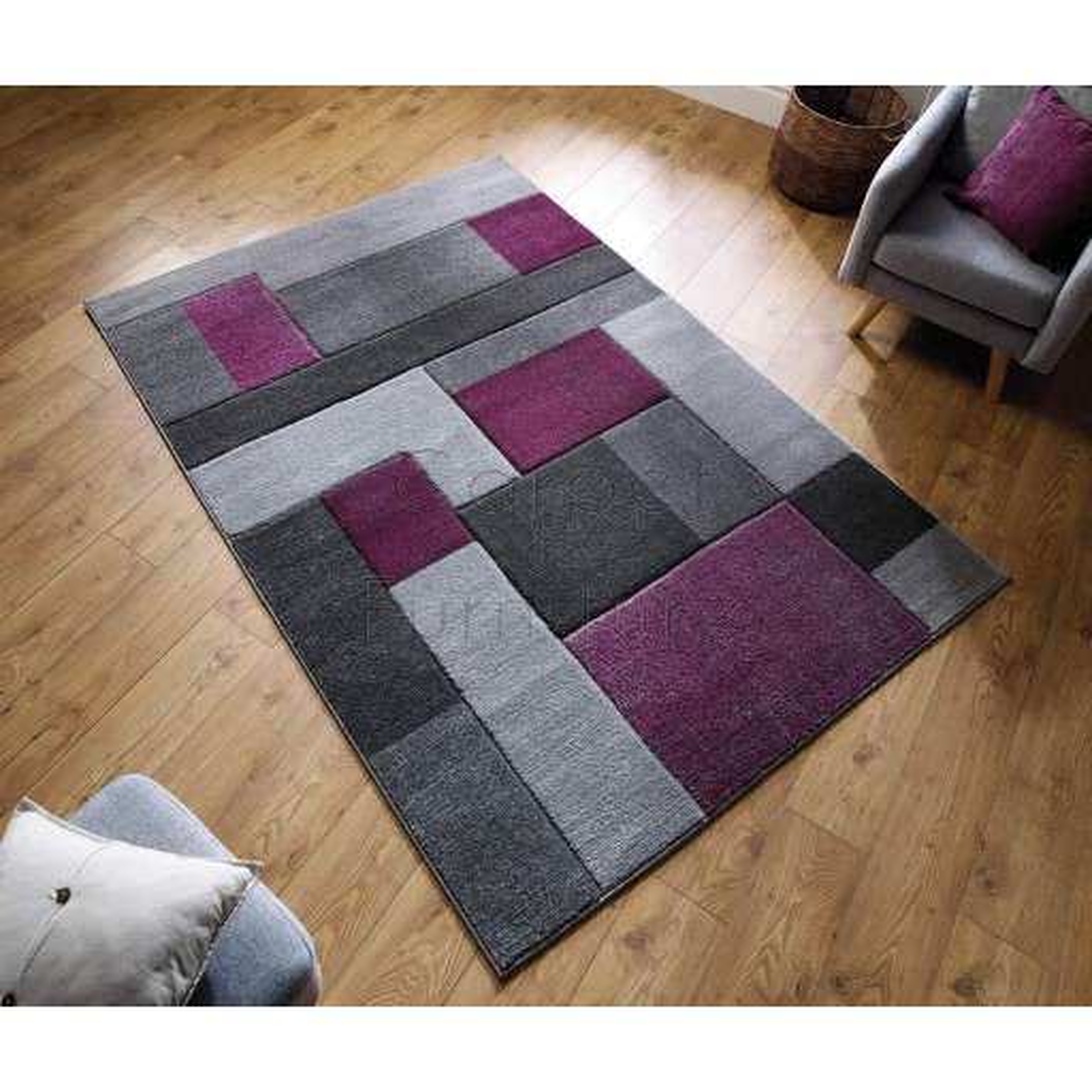"Cosmos Rug - Purple Grey - Size 200 x 290 cm (6'7"" x 9'6"")"