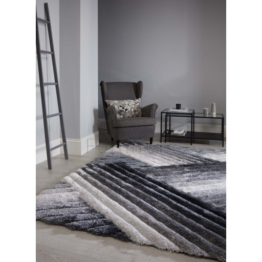 "Verge Lattice Grey Silver Rug - Size 160 x 230 cm (5'3"" x 7'7"")"