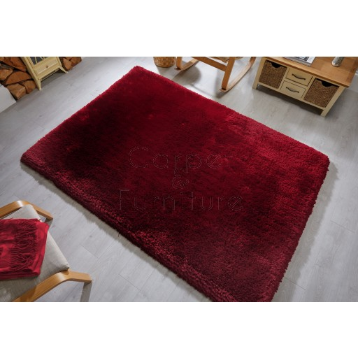 """Pearl Shaggy Claret Red Rug - Size 80 x 150 cm (2'8"""" x 5')"""