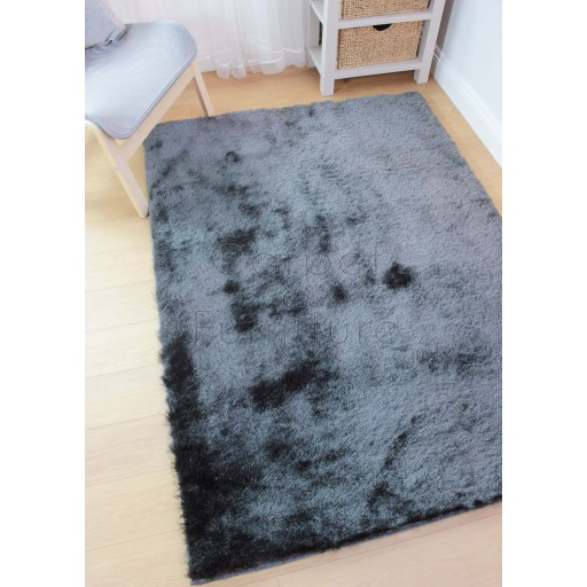 "Splendour Shadow Shaggy Rug - Charcoal - Size 160 x 220 cm (5'3"" x 7'3"")"