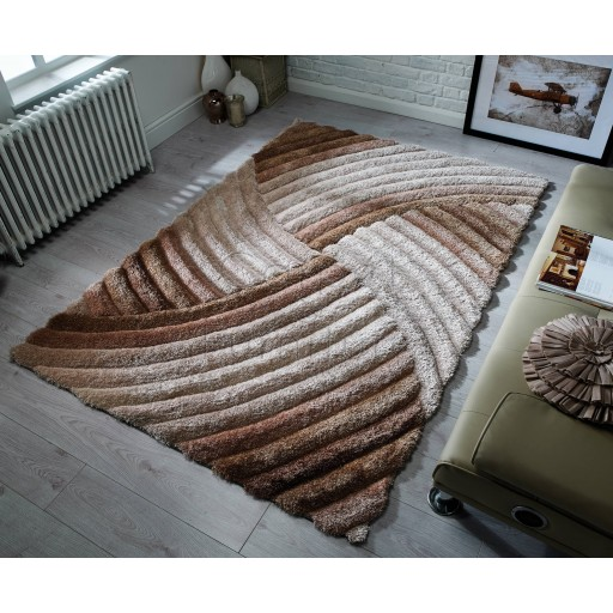 "Verge Furrow Brown Natural Rug - Size 160 x 230 cm (5'3"" x 7'7"")"