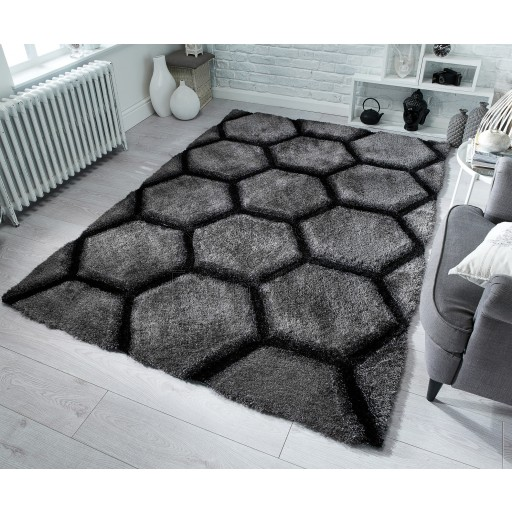 "Verge Honeycomb Charcoal Rug - Size 120 x 170 cm (4' x 5'7"")"