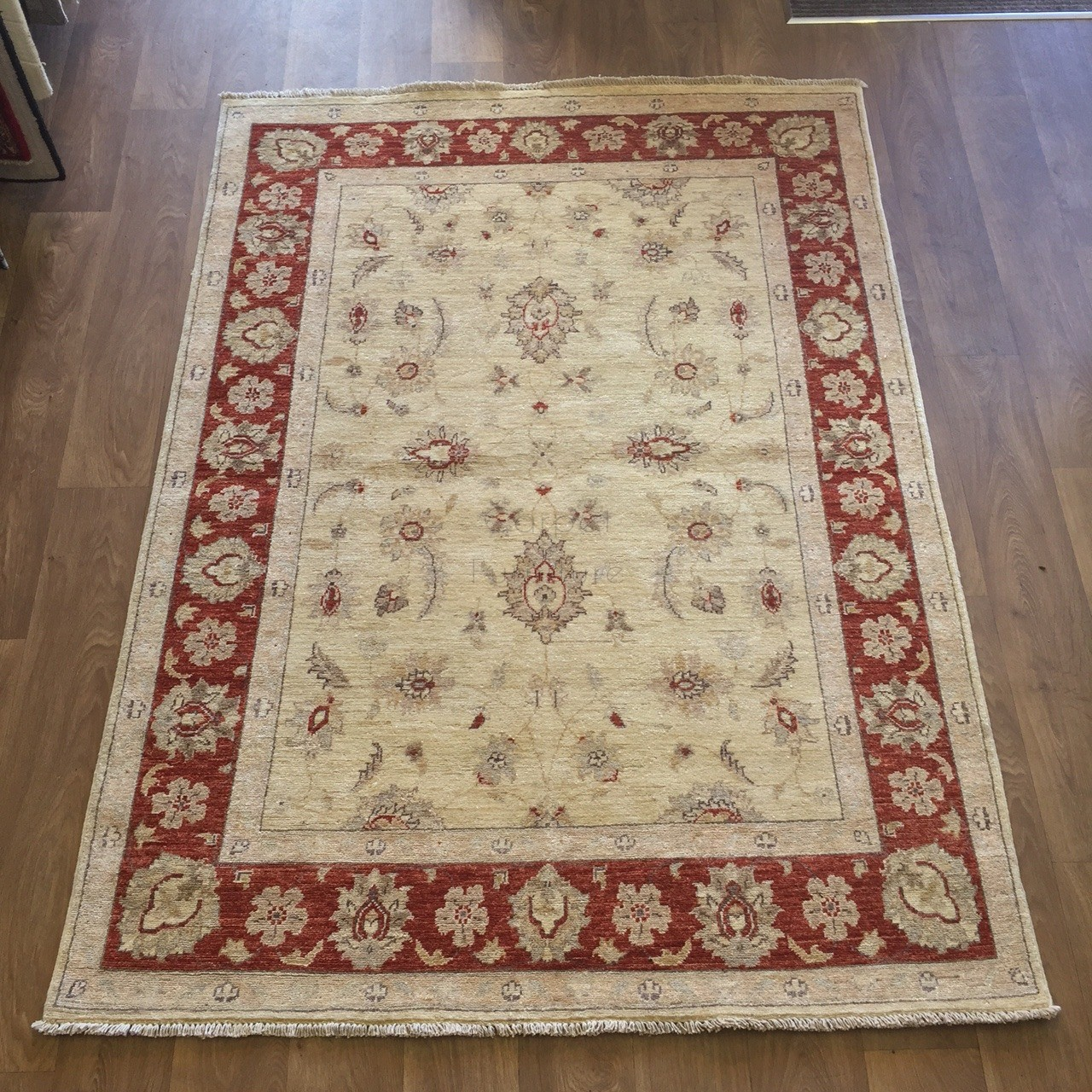 Afghan Ziegler Hand Knotted Traditional Wool Rug Cream Red 142 X 200 Cm