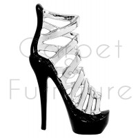 BLACK AND CHROME CERAMIC STILETTO ORNAMENT