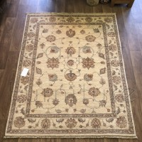 Afghan Ziegler Hand-knotted Wool Rug - Cream 154 x 195 cm