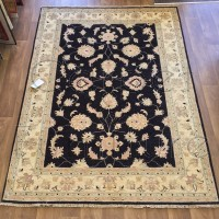 Afghan Ziegler Hand-knotted Traditional Wool Rug - Black 170 x 233 cm