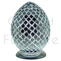 Medium Mosaic Glass Egg Lamp - Chrome