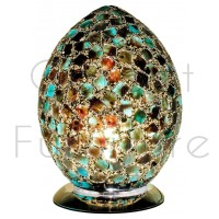 Medium Mosaic Glass Egg Lamp - Peacock Green