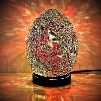 GOLD & CRIMSON MINI MOSAIC EGG LAMP