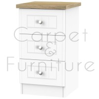 Salzburg 3 Drawer Bedside Locker - Porcelain