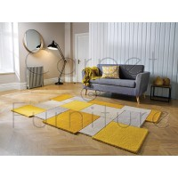 Abstract Collage Rug - Ochre Yellow - Size 90 x 150 cm (3' x 5')