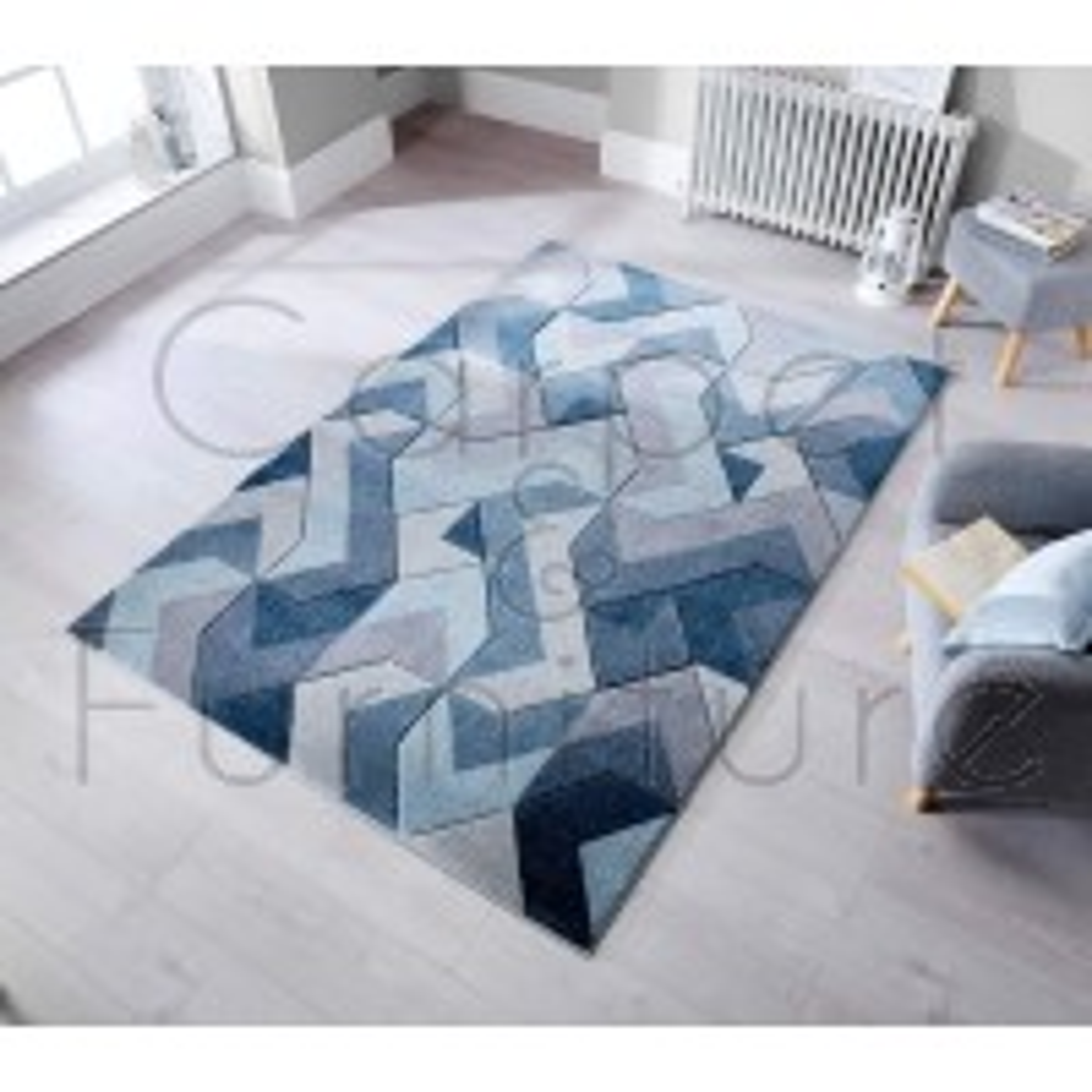 "Aurora Rug - Denim Blue - Size 160 x 230 cm (5'3"" x 7'7"")"