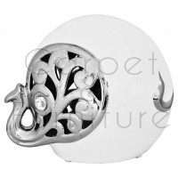 CERAMIC WHITE AND SILVER ELEPHANT (CURLED TRUNK)