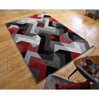 "Aurora Rug - Grey Red - Size 200 x 290 cm (6'7"" x 9'6"")"