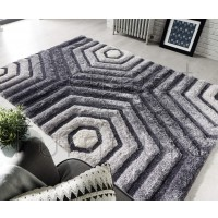 "Verge Hexagon Rug - Grey - Size 160 x 230 cm (5'3"" x 7'7"")"