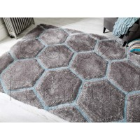 "Verge Honeycomb Grey Duck Egg Rug - Size 80 x 150 cm (2'8"" x 5')"