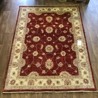 Afghan Ziegler Hand-knotted Wool Rug - Red/Cream 155 x 208 cm