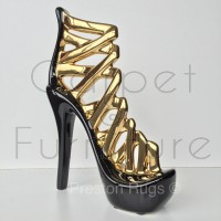 Medium Black Gold Stiletto Shoe Ornament Fired Ceramic 26cm