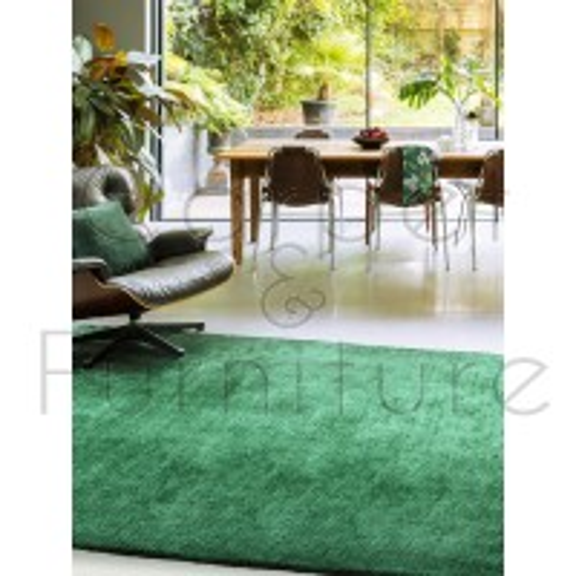 "Milo Soft Plain Rug - Green - Size 200 x 290 cm (6'7"" x 9'6"")"