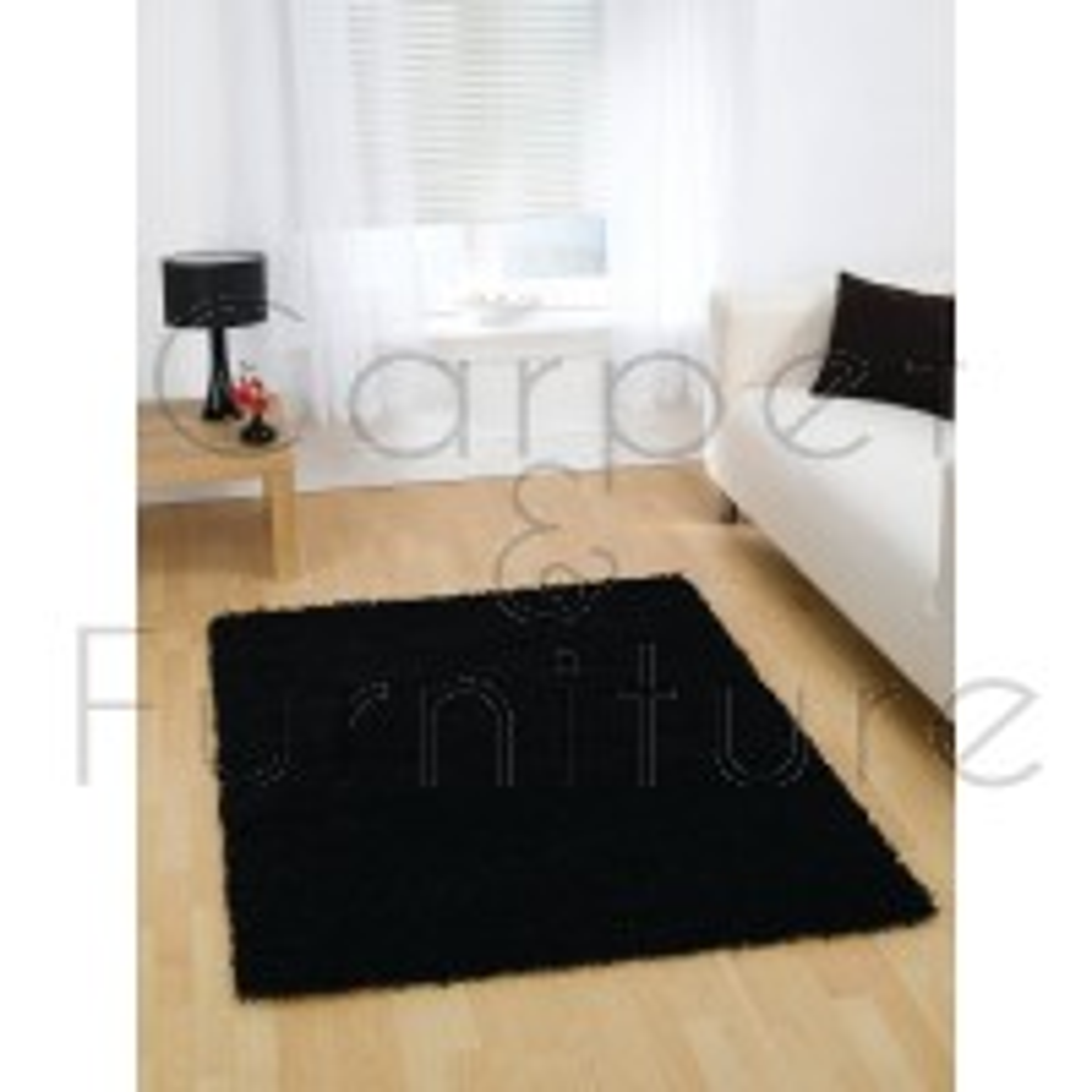 "Nordic Cariboo Shaggy Rug - Black - Size 120 x 170 cm (4' x 5'7"")"