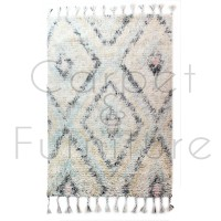 "Eclectic Navajo Blue/Cream Rug - Size 120 x 170 cm (4' x 5'7"")"