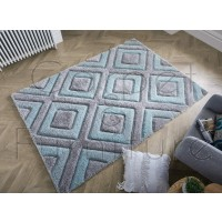"Velvet 3D Diamonds Rug - Silver Duck Egg - Size 160 x 230 cm (5'3"" x 7'7"")"