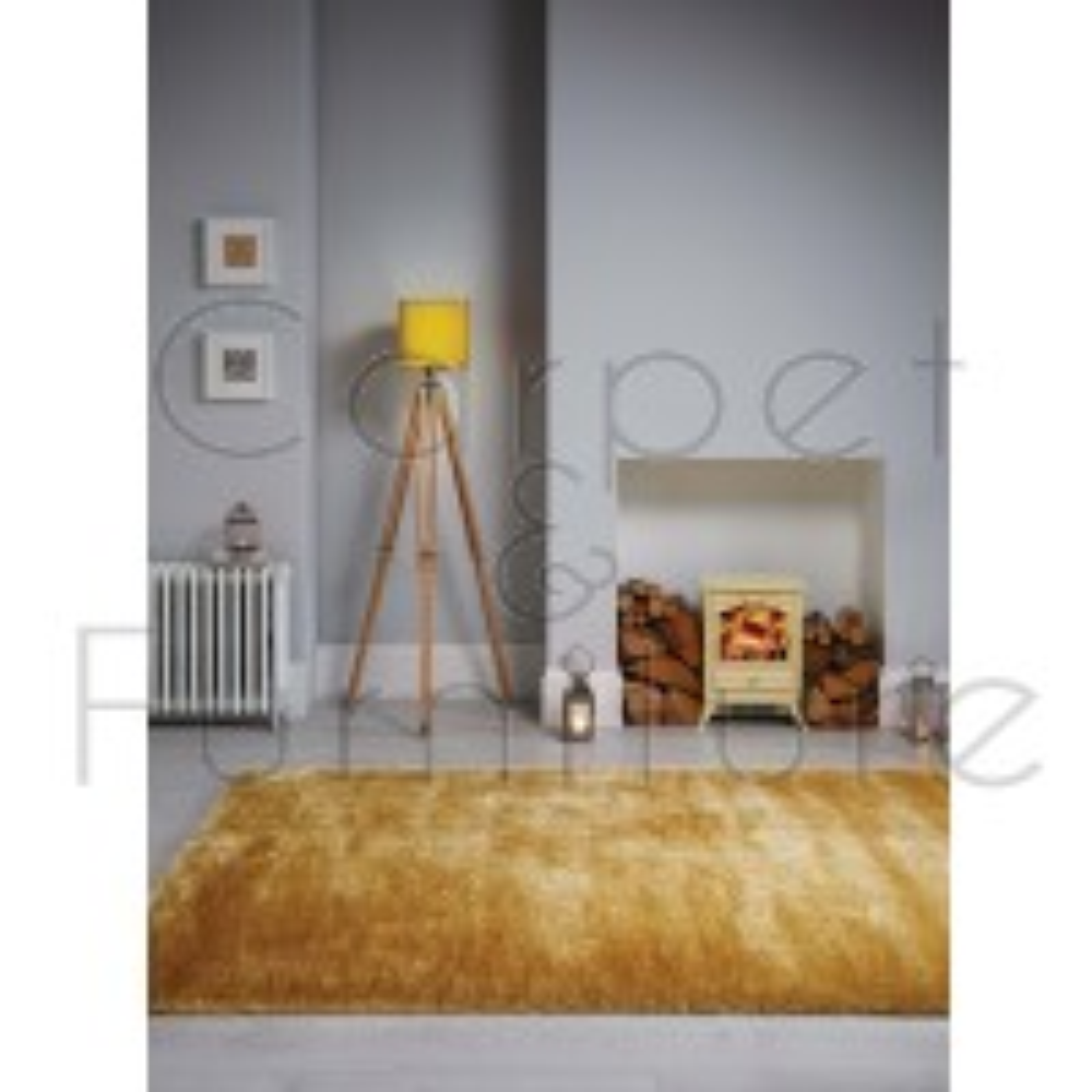 "Velvet Shaggy Rug - Ochre Yellow - Size 160 x 230 cm (5'3"" x 7'7"")"