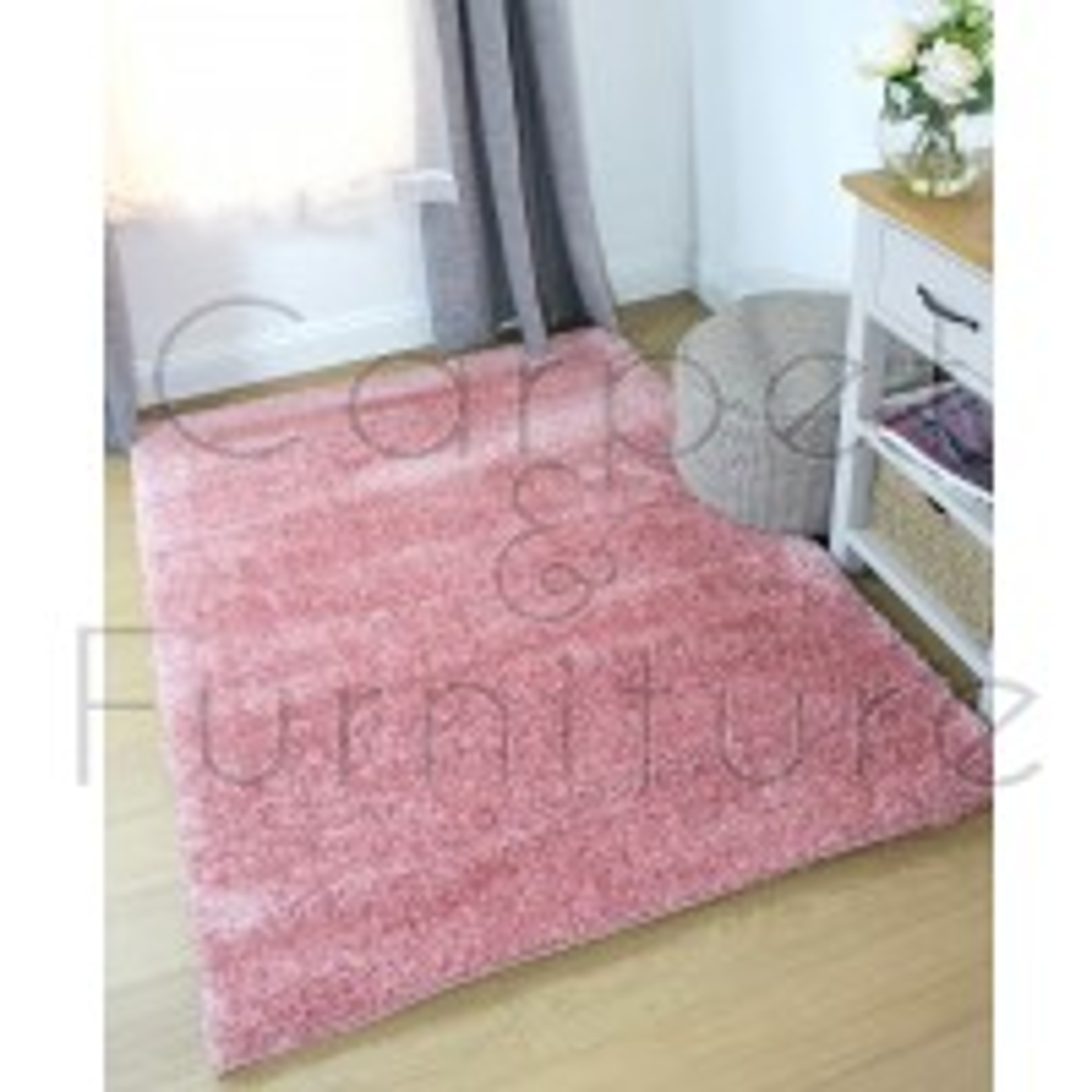 "Velvet Shaggy Rug - Pink - Size 160 x 230 cm (5'3"" x 7'7"")"