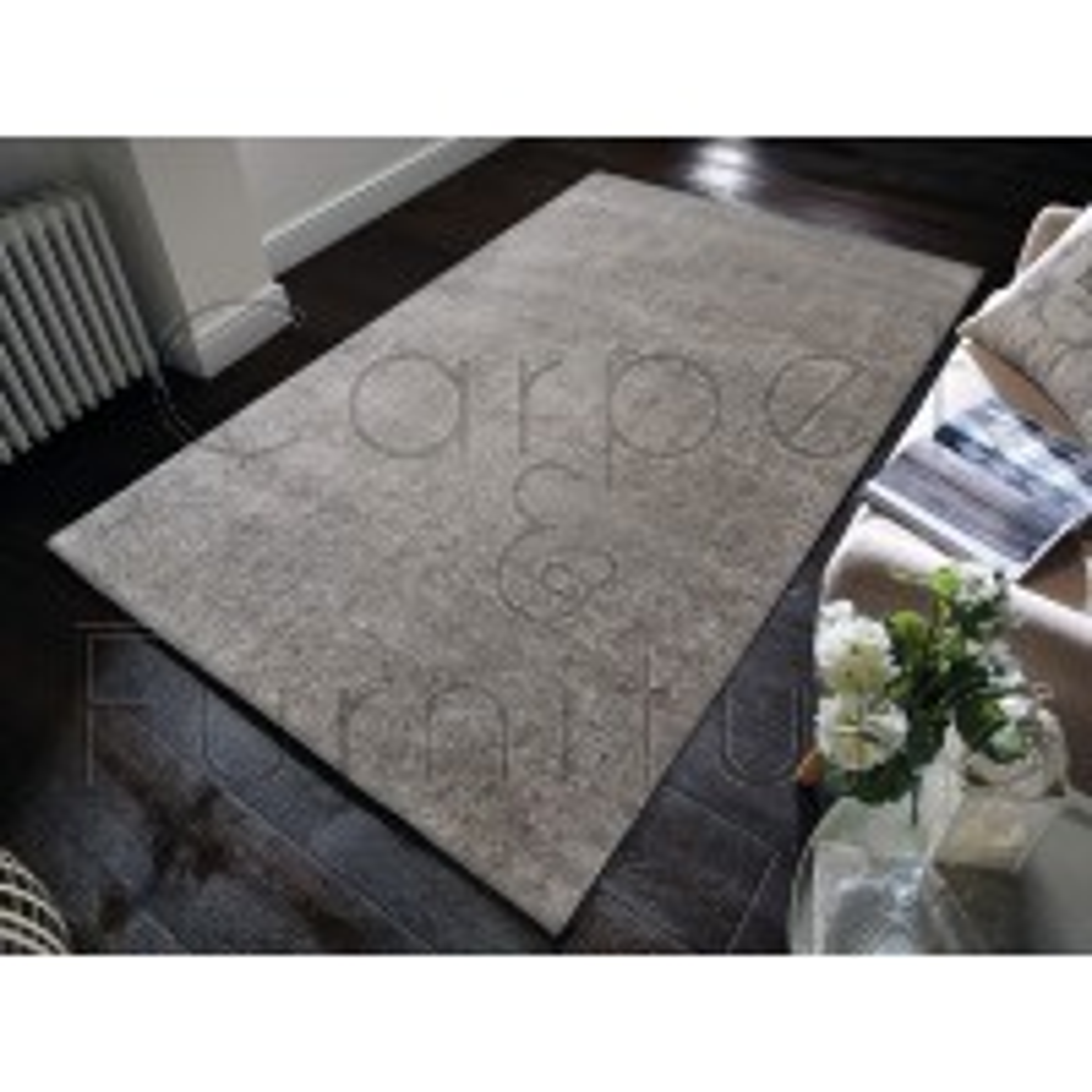 "Velvet Shaggy Rug - Silver - Size 80 x 150 cm (2'8"" x 5')"